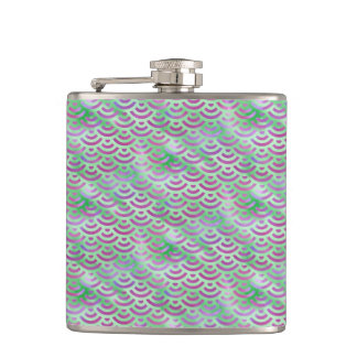 Green Purple Mermaid Pastel Pattern Hip Flask