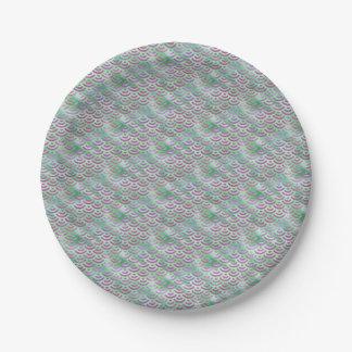 Green Purple Mermaid Pastel Pattern Paper Plate