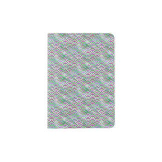 Green Purple Mermaid Pastel Pattern Passport Holder