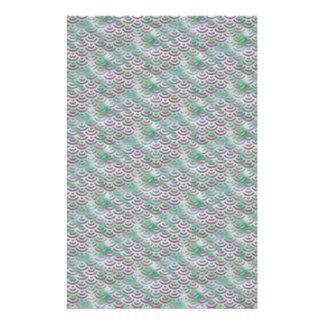 Green Purple Mermaid Pastel Pattern Stationery