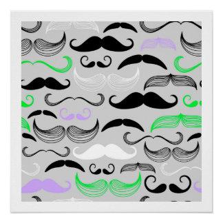 Green & Purple Mustache Design Perfect Poster