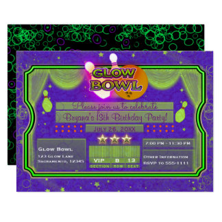 Green & Purple Neon Color GLOW BOWL Birthday Party Card