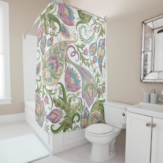 Green & Purple Paisley Floral Shower Curtain