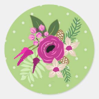 Green/Purple/Pink Floral Envelope Seal Round Sticker