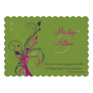 Green Purple Pink White Floral Wedding Invitation