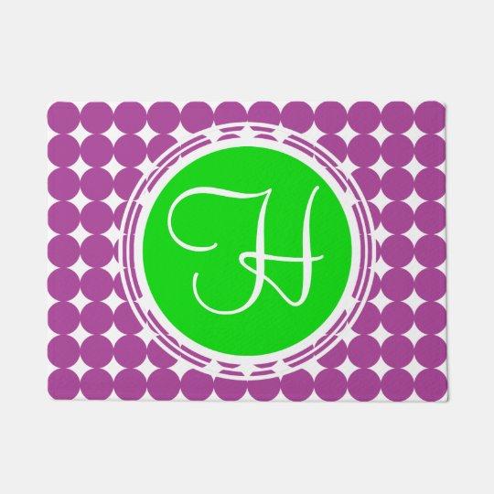 Green & Purple Polka Dot Monogram Doormat