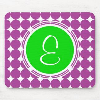 Green & Purple Polka Dot Monogram Mouse Pad