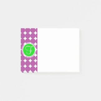 Green & Purple Polka Dot Monogram Post-it Notes
