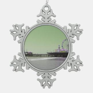 Green Purple Santa Monica Pier Pewter Snowflake Ornament