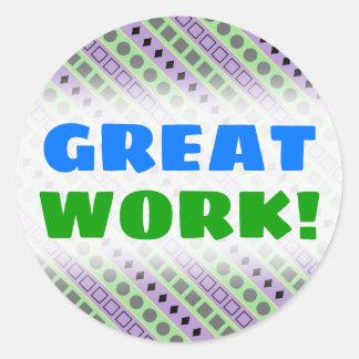 Green & Purple Stripes; Squares, Diamonds, Circles Classic Round Sticker