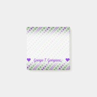 Green & Purple Stripes; Squares, Diamonds, Circles Post-it Notes