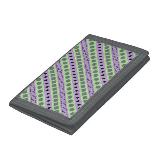 Green & Purple Stripes; Squares, Diamonds, Circles Trifold Wallet