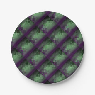 Green Purple Tiled Paper Plate