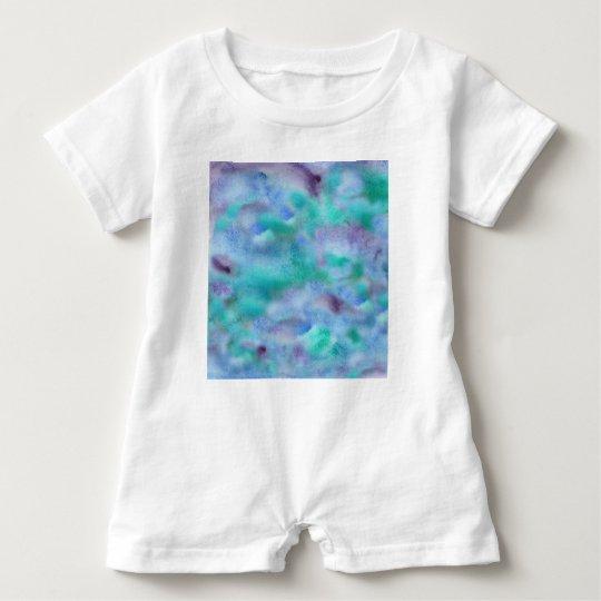 Green Purple Watercolor Baby Romper