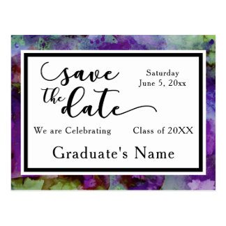 Green & Purple Watercolor Graduation Save the Date Postcard