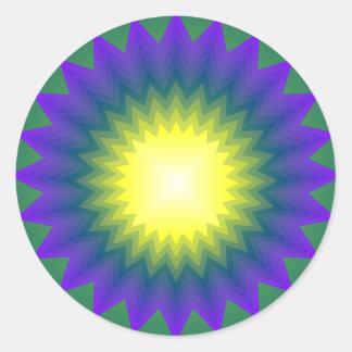 Green Purple Yellow Starbust Sticker