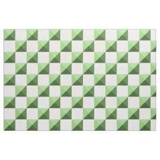 Green Pyramid Illusion Checkerboard Fabric