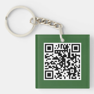 Green QR CODE Custom Key Chain