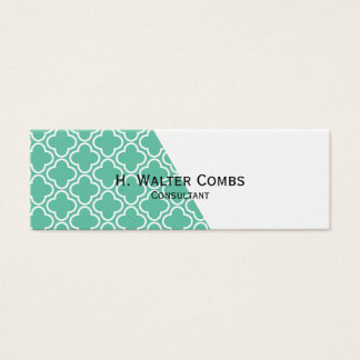 Green Quadrefoil and White Diagonal Mini Business Card
