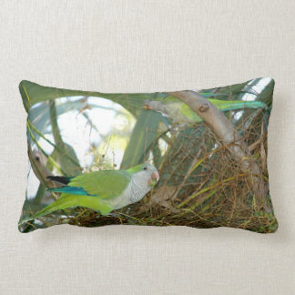 Green quaker parrot birds Pillow