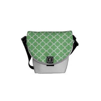 Green Quatrefoil Clover Pattern Courier Bag
