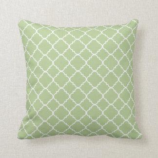 Green Quatrefoil Clover Throw Pillow