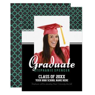 Green Quatrefoil Graduation Photo Announcement