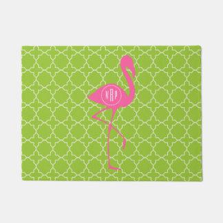 Green Quatrefoil Monogram Pink Flamingo Doormat