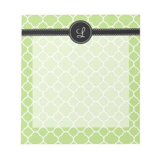 Green Quatrefoil Pattern Notepad