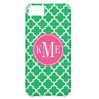 Green Quatrefoil Pattern | Pink Monogram Cover For iPhone 5C