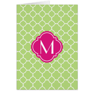 Green Quatrefoil Pattern with Monogram Card