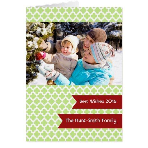Green Quatrefoil Photo Folded Holiday Card