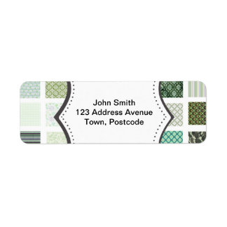 Green quilt mosaic pattern return address label