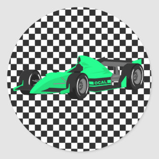 Green Race Car Birthday Sticker