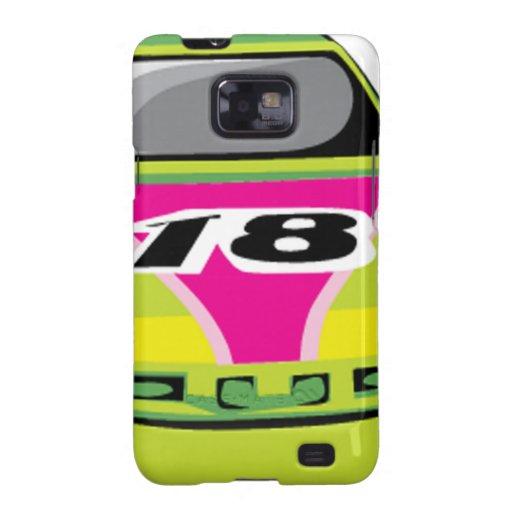 green race car galaxy s2 cases