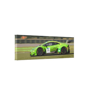 Green Racing Car at High Speed on a Racing Track Canvas Print