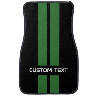 Green Racing Stripes Car Mats - with custom text Car Floor Carpet