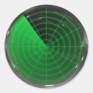 green radar pattern classic round sticker