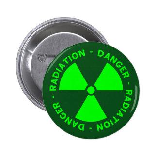 Green Radiation Warning 2 Inch Round Button