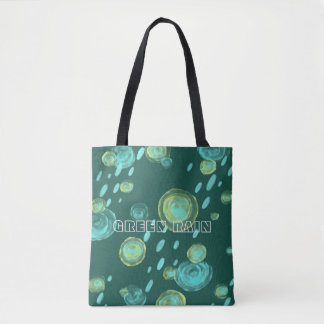 green rain abstract watercolour tote
