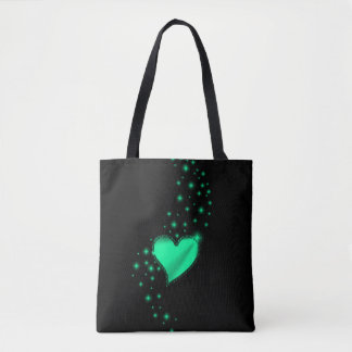 Green Rainbow Heart with Stars on black Tote Bag