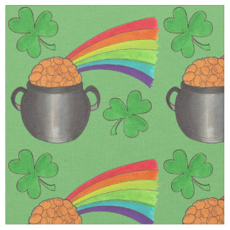 Green Rainbow Shamrock Saint Patrick's Day Fabric