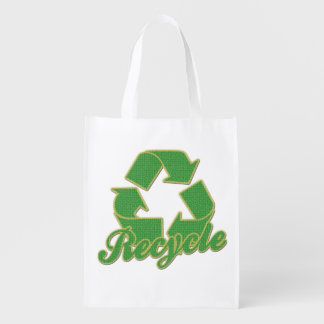 Green Recycle Logo Grocery Bags