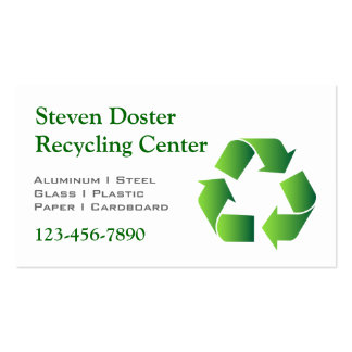 Green Recycle Symbol Business Card Templates
