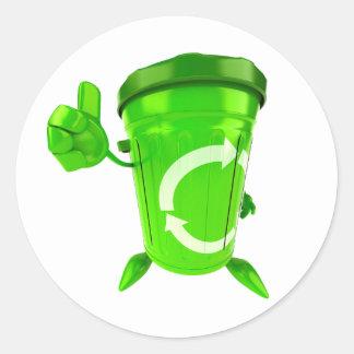 Green Recycling Bin Stickers Round Sticker