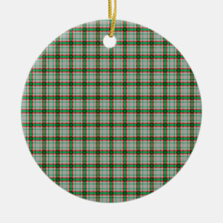 Green, Red, and Grey Plaid Round Ceramic Ornament