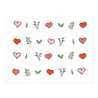 Green Red and Pink Botanical Heart Cards Postcard