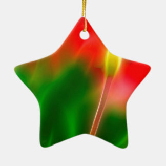 Green, Red and Yellow Tulip Glow Ceramic Star Ornament