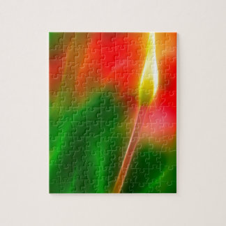 Green, Red and Yellow Tulip Glow Jigsaw Puzzle