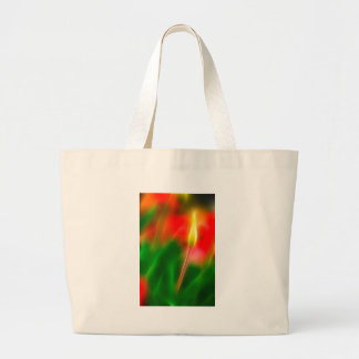 Green, Red and Yellow Tulip Glow Large Tote Bag